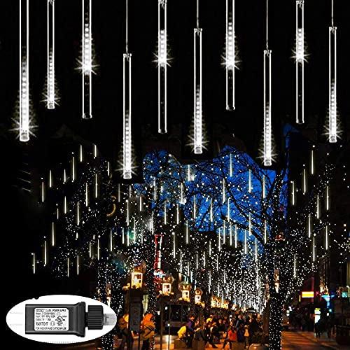 Zezuxy Falling Rain Lights White, Meteor Shower Lights UL Listed...