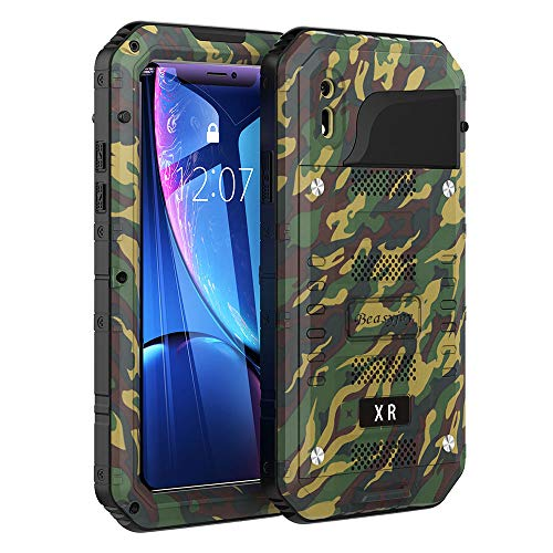 Beasyjoy iPhone XR Metal Case Heavy Duty with Screen Full Body...