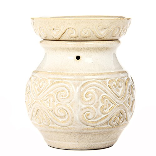 Hosley 6 Inch High Cream Ceramic Electric Candle Warmer Ideal Gift for...