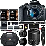 Canon EOS Rebel T7 DSLR Travel Bundle with 58mm 2X Telephoto, Wide...