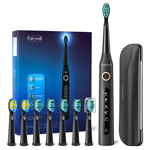 Fairywill Electric Toothbrush for Adults with 5 Modes, Smart Timer, 8...