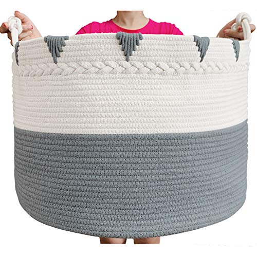 TerriTrophy XXXXLarge Cotton Rope Blanket Basket 22in x 22in x 16in...