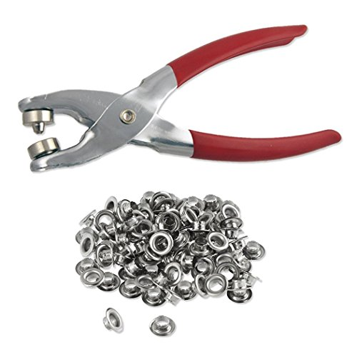 1/4' Grommet Eyelet Setting Pliers with 100 Silver Grommets
