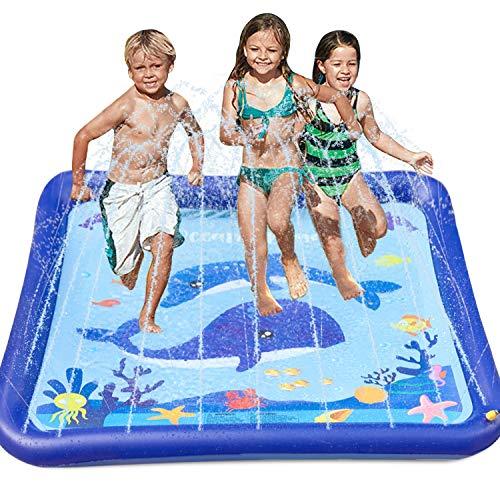 GiftInTheBox Kids Sprinkler & Splash pad Play Mat 68' Sprinkler for...