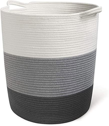 INDRESSME 17.8' x 15.8' x 13.8' Grey Baby Laundry Basket Thread Cotton...
