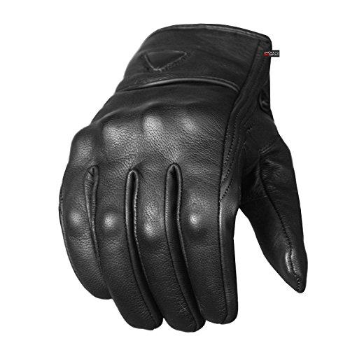 Men's Premium Leather Street Motorcycle Protective Cruiser Biker Gel...