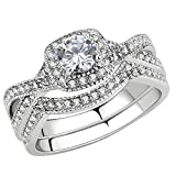 FlameReflection Infinity Engagement Ring Halo Round Cz Stainless Steel...