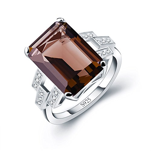 ANGG 6ct 925 Sterling Silver Ring for Women Smoky Quartz Engagement...