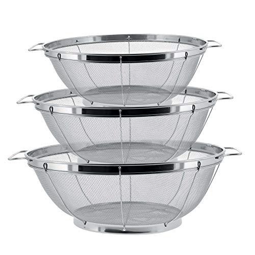U.S. Kitchen Supply - 3 Piece Colander Set - Stainless Steel Mesh...