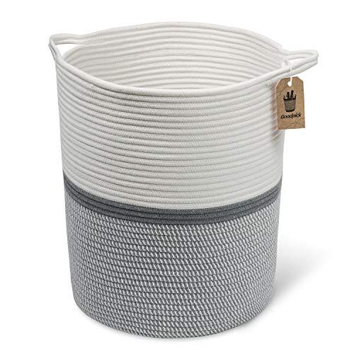 INDRESSME 17.8' x 15.8' x 13.8' Gray Baby Laundry Basket - Thread...