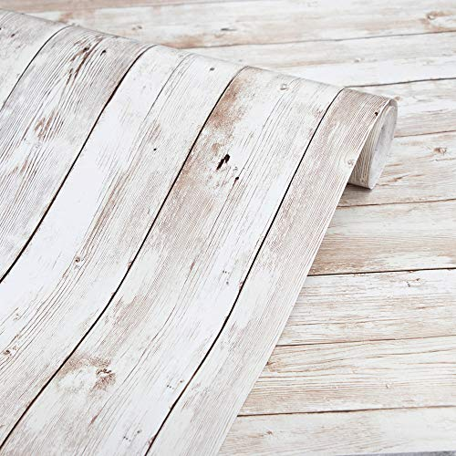 Wood Wallpaper 17.71' X 118' Self-Adhesive Removable Wood Peel and...