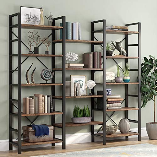 Tribesigns Rustic Triple Wide 5-Shelf Bookcase, 5 Tier Etagere Large...