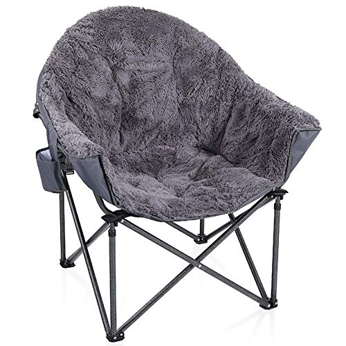 ALPHA CAMP Plush Moon Saucer Chair with Carry Bag - Supports 350 LBS,...