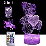 StarGinz 3D Night Light for Kids, 3 in 1 Illusion Lamp for Home...