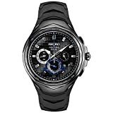 Seiko Men's Stainless Steel Japanese Quartz Silicone Strap, Black, 20...