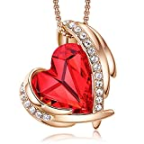 CDE Love Heart Pendant Necklaces for Women Silver Tone Rose Gold Tone...