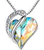 Leafael Infinity Love Heart Pendant Necklace with Opal White...