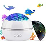 Night Light Projector,Delicacy 2 in 1 Ocean Undersea Lamp and Starry...