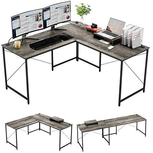 Bestier L Shaped Industrial Desk 95.2 Inch Reversible Corner Computer...