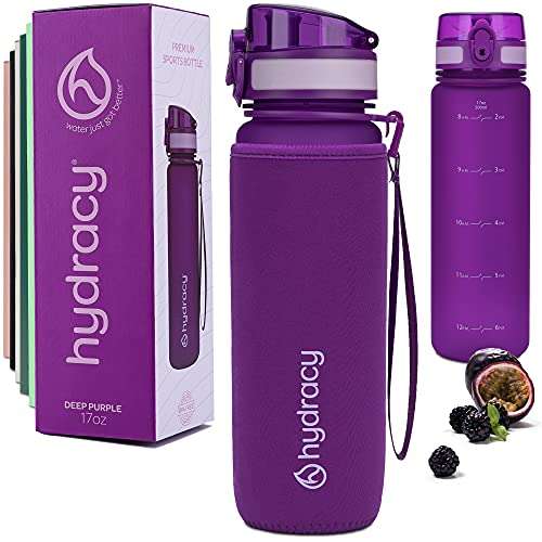 Hydracy Water Bottle with Time Marker - 500 ml 17 Oz BPA Free Water...