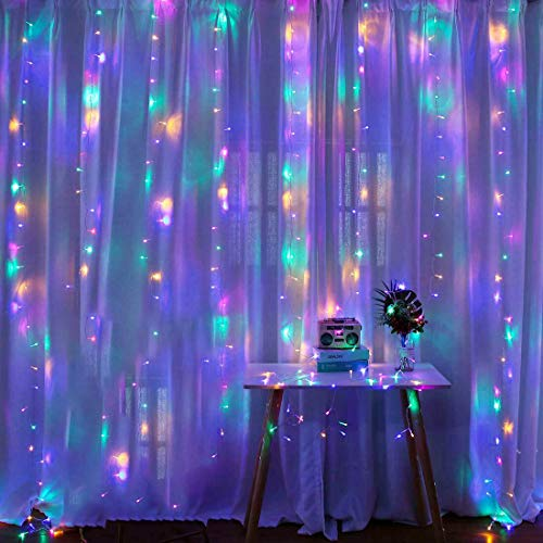 LED Curtain Lights, 8 Modes Multicolor Window String Lights Wall...