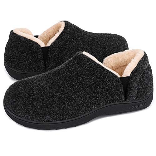 LongBay Men's Cozy Memory Foam Slippers Comfy House Shoes (Small /...