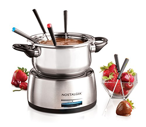 Nostalgia FPS200 6-Cup Stainless Steel Electric Fondue Pot with...