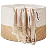 HOMYAM XXXL Large Cotton Rope Basket 22x14 Pure Natural Cotton! Rope...
