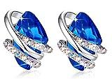 Leafael Wish Stone Stud Earrings with Sapphire Blue Birthstone...