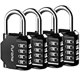 Puroma 4 Pack Combination Lock 4 Digit Outdoors Padlock for School Gym...