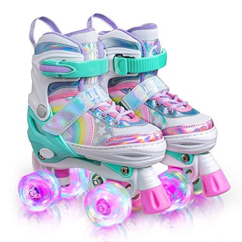 Sulifeel Rainbow Unicorn 4 Size Adjustable Light up Roller Skates for...