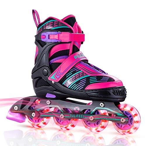 Sulifeel Arigena 4 Size Adjustable Light up Inline Roller Skates for...