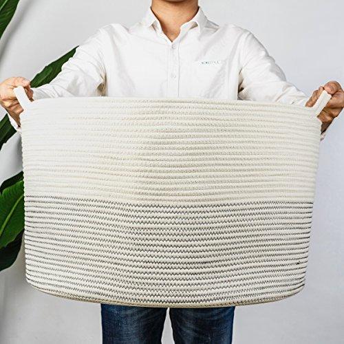 INDRESSME XXXLarge Cotton Rope Basket 21.7' x 21.7' x 13.8' Woven Baby...