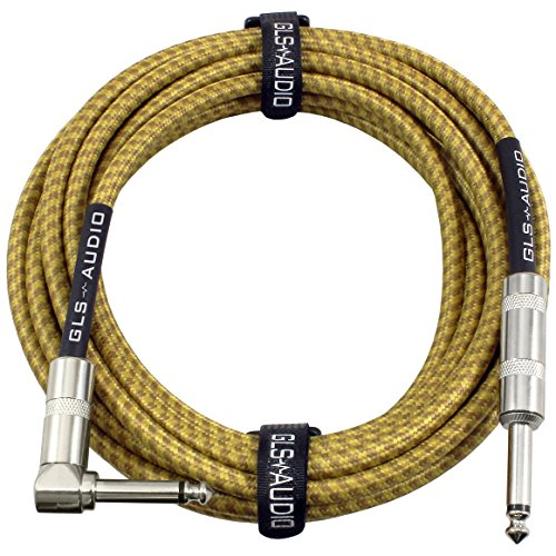 GLS Audio 20 Foot Guitar Instrument Cable - Right Angle 1/4 Inch TS to...