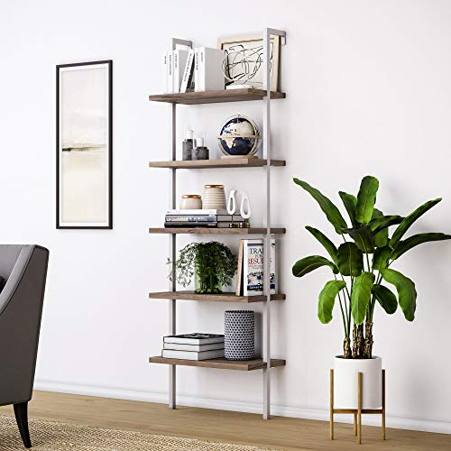 Nathan James Theo 5-Shelf Wood Ladder Bookcase with Metal Frame,...
