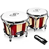 Pyle Hand Crafted Bongo Drums - Pair of Wooden Bongo Drums, 6.5 & 7.5...