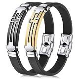JINGCI Cross Bracelets for Men, Stainless Steel Religious Bracelet...