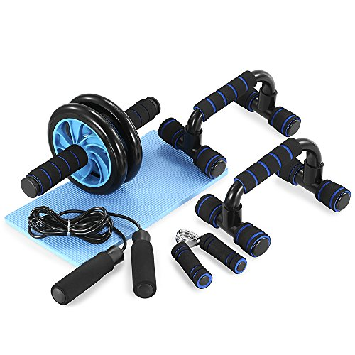 TOM SHOO 5-in-1 AB Wheel Roller Kit with Push-Up Bar Jump Rope Hand...