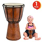 ArtCreativity 8 Inch Mini Wooden Toy Drum - Rustic Brown Wood and...