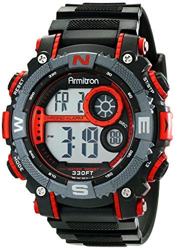 Armitron Sport Men's 40/8284RED Large Metallic Red Accented Black...