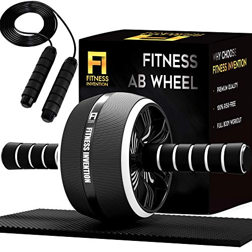 Fitness Invention Ab Roller Wheel - 3-IN-1 Ab Wheel Roller with Knee...