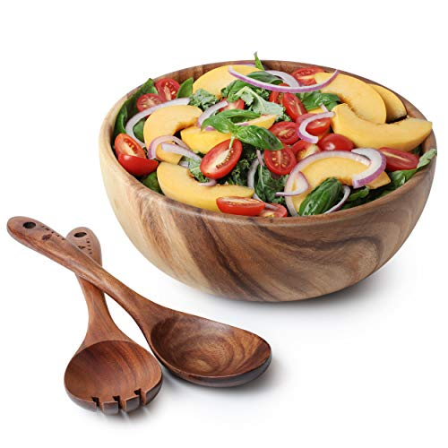 Acacia Wood Salad Bowl with Servers Set - Large 9.4 inches Solid...