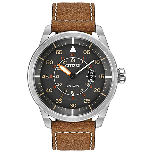 Citizen Men's Eco-Drive Watch in Stainless Steel and Brown Leather...