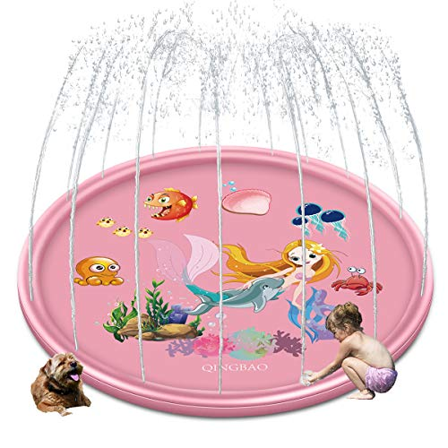 QINGBAO Splash Pad Sprinkler Pad Splash Play Mat 68' Outdoor Water...