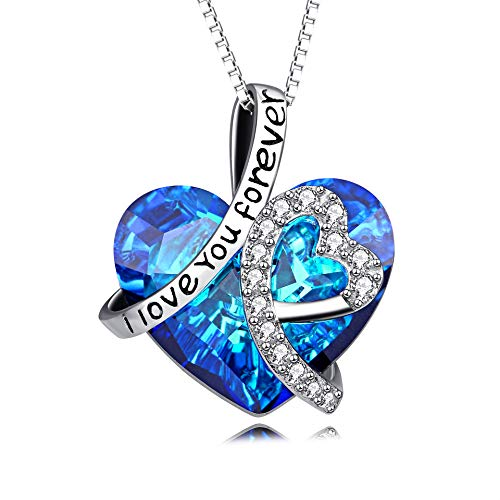 Heart Necklace 925 Sterling Silver I Love You Forever Pendant Necklace...