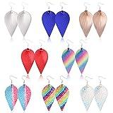 8 Pairs Leather Earrings Lightweight Teardrop Earrings - Handmade Leaf...