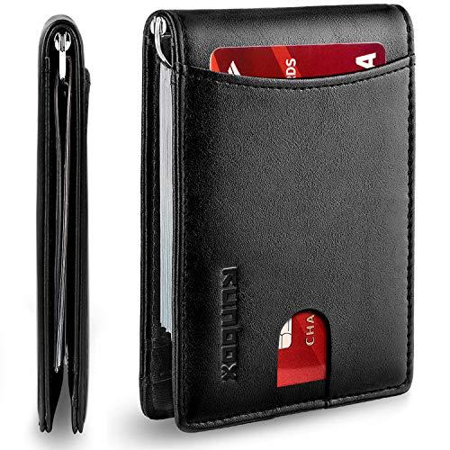 RUNBOX Minimalist Slim Wallet for Men with Money Clip RFID Blocking...