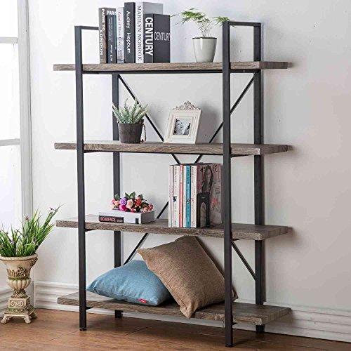 HSH 4-Shelf Vintage Industrial Bookshelf, Rustic Wood and Metal...