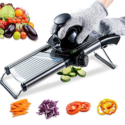 Mandoline Slicer with Protective Gloves -VEKAYA, Slice Julienne for...