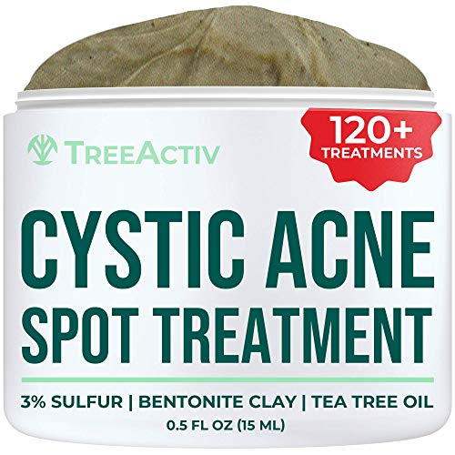 TreeActiv Cystic Acne Spot Treatment, 3% Sulfur Blemish Remover for...